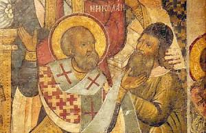 Святой Николай заушает Ария . Фреска XVII века.